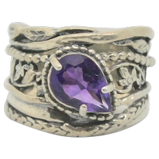 Or Paz Pear Shaped Amethyst Sterling Ring~ Size 7