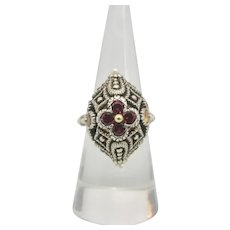 Barbara Bixby Sterling/ 18k Gold Rhodolite, Citrine, & Pearl Flower Ring~Size 6