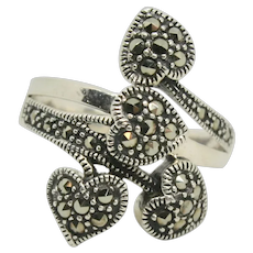 Sterling Marc 4 Heart Marcasite Ring~ Size 7