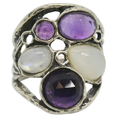 Or Paz Sterling Amethyst & Moonstone Ring~ Size 6