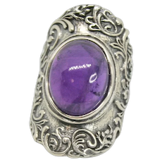Or Paz Amethyst Cabochon Sterling Ring~ Size 7