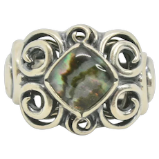 Carolyn Pollack Whirlwind Sterling Abalone Doublet Ring~ Size 6