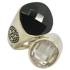 Michael Dawkins Sterling Silver Smoky & White Quartz Ring~ Size 6