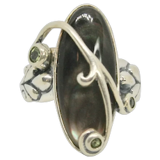 Carolyn Pollack Black Mother of Pearl & Peridot Sterling Ring~ Size 6