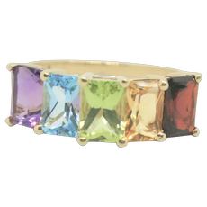 14k Gold Multi-Gemstone Rainbow Colored Ring~ Size 6