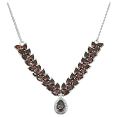 Sterling STS Garnet & White Topaz Necklace~ 18""