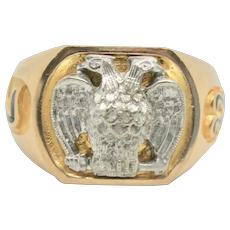 Vintage 10k Gold Masonic 32 Degree Double Eagle Ring~ Size 10