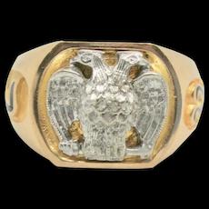 Vintage 10k Gold Masonic 32 Degree Double Eagle Ring~ Size 10