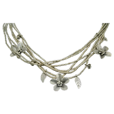 Sterling Silver Multi-Strand Flower and Leaf Choker Necklace~16""