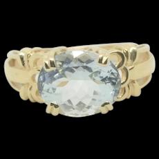 14k Gold STS Aquamarine Ring~ Size 6