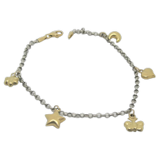 18k Gold & Platinum Charm Bracelet