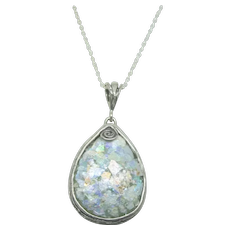 Sterling Or Paz Roman Glass Tear Drop Pendant~ 20""