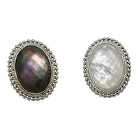 Pair of Sterling Honora White & Black Mother of Pearl Large Oval Faceted Rings~ Size 6