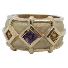 14k Gold Amethyst & Citrine Ring~ Size 6