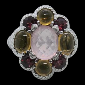 Sterling Judith Ripka Rose Quartz & Citrine Ring~ Size 7.5