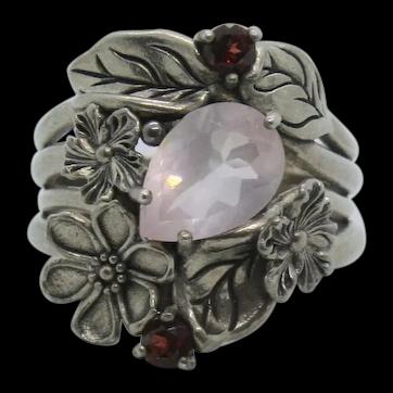 Sterling Or Paz Rose Quartz & Garnet Ring~ Size 7.5