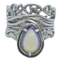 Or Paz Ethiopian Opal Pear Shaped Sterling Ring~ Size 7