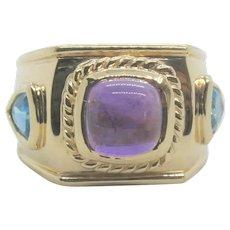 14k Gold Amethyst & Blue Topaz Ring~ Size 6