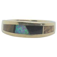 14k Gold Ring with Tiger Eye, Opal, Onyx, & Jasper Inlay~ Size 7.5
