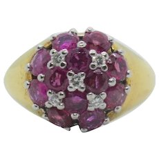 18k Gold Ruby & Diamond Dome Ring~ Size 9