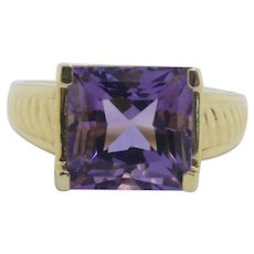 14k Gold Princess Cut Faceted Amethyst Ring~ Size 9