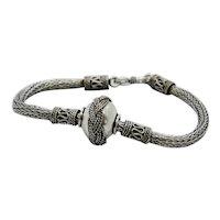 "Sterling Wheat Waved Rope Bracelet~ 7.5"""