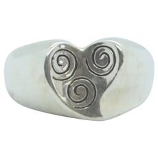 Sterling Carolyn Pollack Inverted Swirl Heart Ring~Size 9