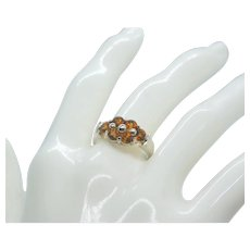 Sterling 6 Round Citrine Stone Ring~ Size 8
