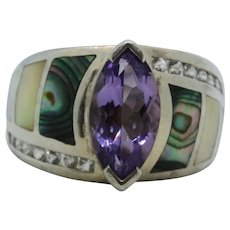 Whitney Kelly Amethyst, Abalone, & Mother of Pearl Sterling Ring~ Size 8.25