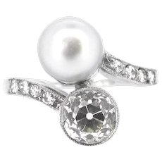 Natural Pearl and Old European Cut Diamond Crossover Ring