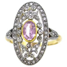 Antique Edwardian Pink topaz and diamonds ring, circa 1910