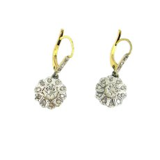 Antique Rose cut Diamonds Dormeuses Earrings, 18kt gold and platinum, France, circa 1905
