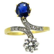 Antique Belle Epoque Toi et Moi Sapphire and diamonds ring, circa 1910