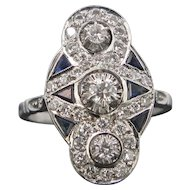 Art Deco Diamonds and Sapphires ring, 18kt gold, circa 1925