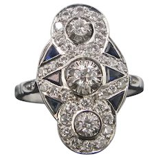 Art Deco Diamonds and Sapphires ring, 18kt gold, circa 1925