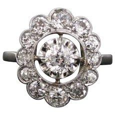 Antique Diamonds cluster ring, 18kt gold and platinum, circa 1920