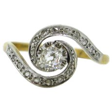 Antique Art Nouveau Tourbillon Diamonds ring, circa 1910