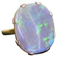 Retro Opal Ring, 18kt Gold & Platinum, 1960s