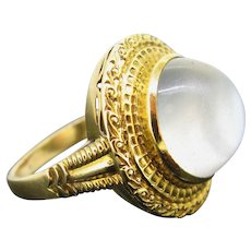 Vintage French Moon Stone Ring, 18kt Gold