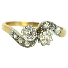 Antique Edwardian CROSSOVER 2 diamonds ring, TOI ET MOI, 18kt gold and platinum, circa 1910