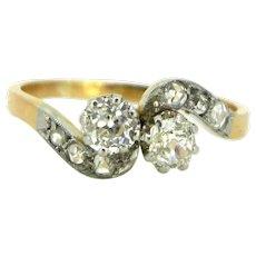 Edwardian Toi et Moi Crossover Diamonds ring, circa 1910