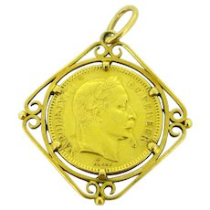 Antique Art Nouveau Napoleon III coin pendant, 18kt and 22kt circa 1900