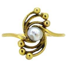 Art Nouveau Natural pearl ring, 18kt gold, circa 1900