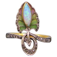 Antique Art Nouveau Opal and Diamonds Plique a Jour Ring, 18kt gold and platinum, circa 1900