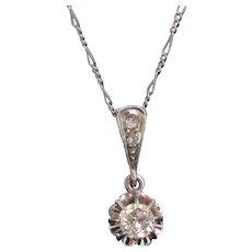 Antique Belle Epoque Diamonds Pendant on chain, platinum, France, circa 1915