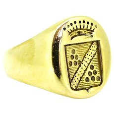 Vintage Family Crest Signet Ring, 18kt gold, mid 20th century