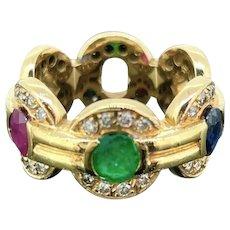 Vintage Multi Gems Halo Diamonds Ring, 18kt yellow gold, France, circa 1970