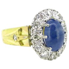 Victorian Style Cabochon Sapphire Diamond Cluster Ring, 18kt White and Yellow Gold
