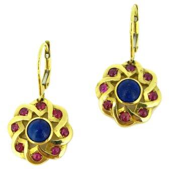 Vintage Lapis Lazuli and Rubies Flowery earrings, circa 1960