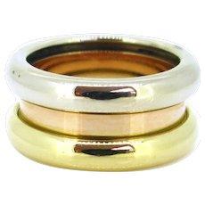 Poiray Three Gold Fashion Large Band Ring